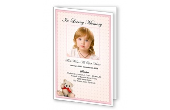 Pink Teddy Bear Funeral Program Template