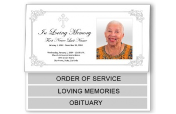 Ornate Cross Funeral Program Template - Bottom Graduated Fold