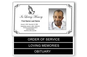 Praying Hands Funeral Program Template - Bottom Graduated Fold