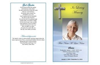 Blue Eternal Cross Funeral Program Template