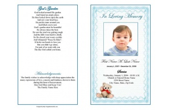 Blue Teddy Bear Funeral Program Template