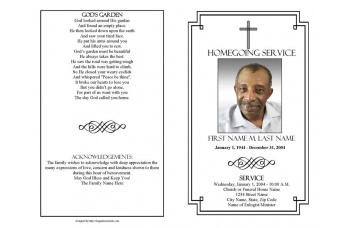 Classic Cross Funeral Program Template