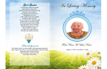 Daisy Memories Funeral Program Template