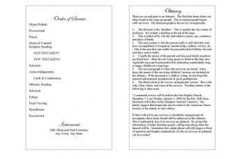Ornate Cross Funeral Program Template