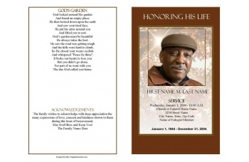 Ray of Sunshine Funeral Program Template