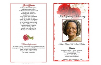 Red Rose Funeral Program Template