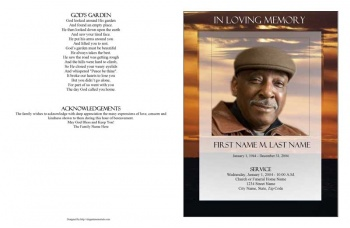 Brown Sunset Large Funeral Program Template