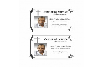 Classic Cross  Funeral Announcement Template