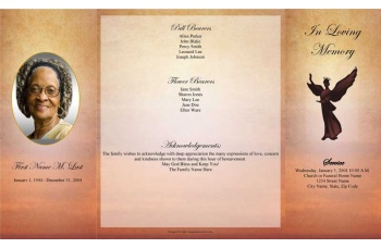 Beloved Angel Gatefold Funeral Program Template