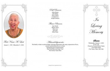 Grey Ornate Cross Gatefold Funeral Program Template