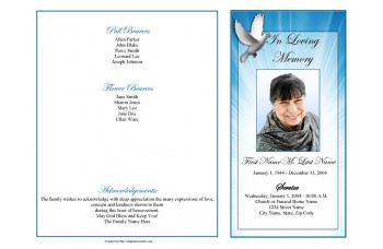 Celestial Dove Funeral Program Template - 4 Page Graduated Fold