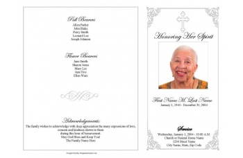Grey Ornate Cross Funeral Program Template - 4 Page Graduated Fold
