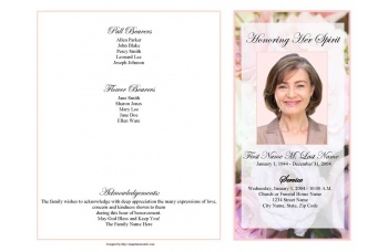 Pastel Memories Funeral Program Template - 4 Page Graduated Fold