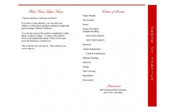 Red Rose Funeral Program Template - 4 Page Graduated Fold