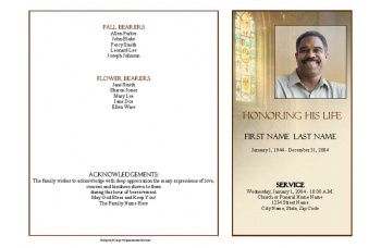 Shine Brightly Funeral Program Template - 4 Page Graduated Fold