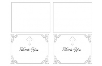 Grey Ornate Cross Thank You Card Template