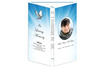 Celestial Dove Gatefold Funeral Program Template