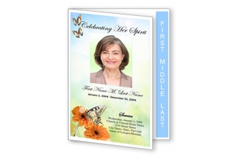 Beautiful Butterfly Funeral Program Template - Graduated Fold