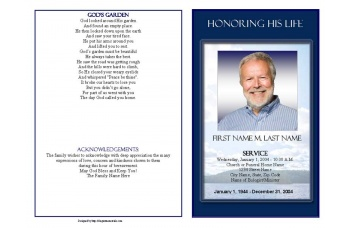 Mountain Memory Funeral Program Template - Graduated Fold