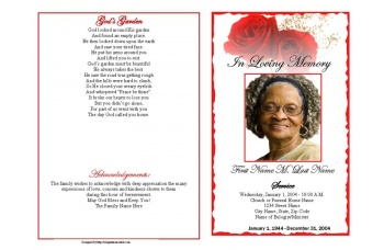 Red Rose Funeral Program Template - Graduated Fold