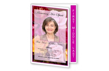 Flowers of Devotion Funeral Program Template - Graduated Fold