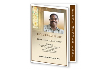 Shine Brightly Funeral Program Template - Graduated Fold