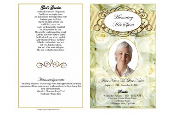 Cherished White Roses Funeral Program Template