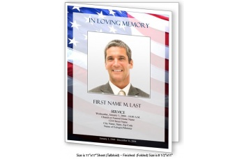 Patriotic US Large Funeral Program Template