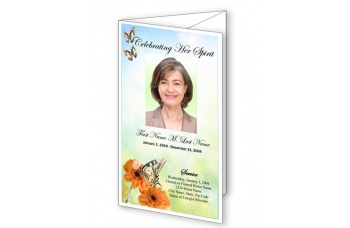 Beautiful Butterfly Trifold Funeral Program Template