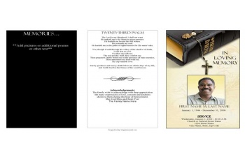 Bible Memories Trifold Funeral Program Template