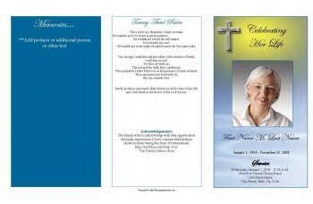 Blue Eternal Cross Trifold Funeral Program Template