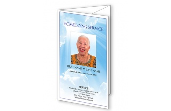 Blue Sky Trifold Funeral Program Template