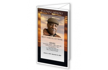 brown sunset trifold funeral program template elegant memorials