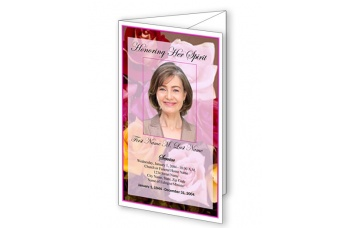 Flowers of Devotion  Trifold Funeral Program Template