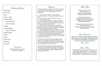 Memorial Roses Trifold Funeral Program Template