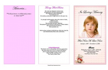 Pink Teddy Bear Trifold Funeral Program Template
