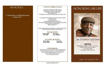 Ray of Sunshine Trifold Funeral Program Template