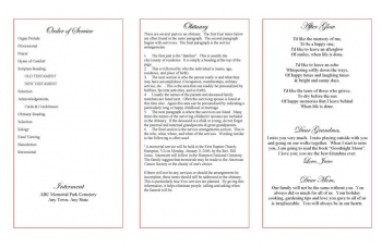 Red Rose Trifold Funeral Program Template