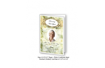 Cherished White Roses Funeral Card Template