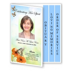 Beautiful Butterfly Funeral Program Template - 4 Page Graduated Fold