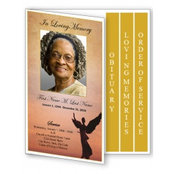 Beloved Angel Funeral Program Template - 4 Page Graduated Fold
