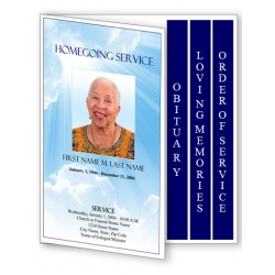 Blue Sky Funeral Program Template - 4 Page Graduated Fold