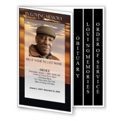Brown Sunset Funeral Program Template - 4 Page Graduated Fold