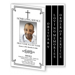 Classic Cross Funeral Program Template - 4 Page Graduated Fold