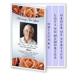 Memorial Roses Funeral Program Template - 4 Page Graduated Fold