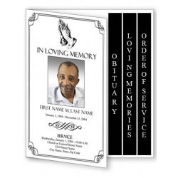 Praying Hands Funeral Program Template - 4 Page Graduated Fold
