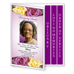 Lovely Purple Rose Funeral Program Template - 4 Page Graduated Fold