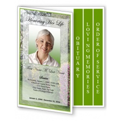 Spring Garden Funeral Program Template - 4 Page Graduated Fold