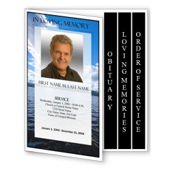 Wade in the Water Funeral Program Template - 4 Page Graduated Fold