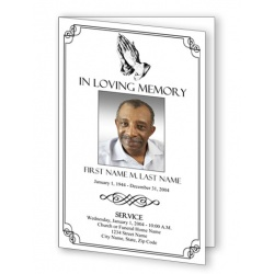 Praying Hands Funeral Program Template